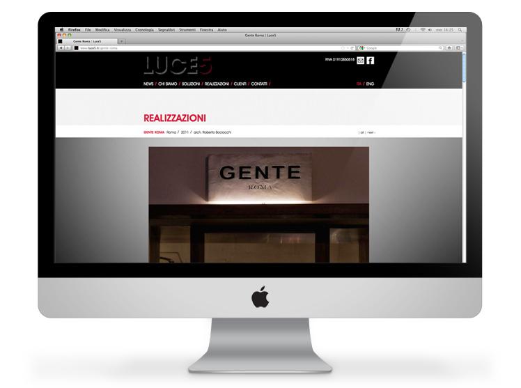 Luce5 website - realizzazioni